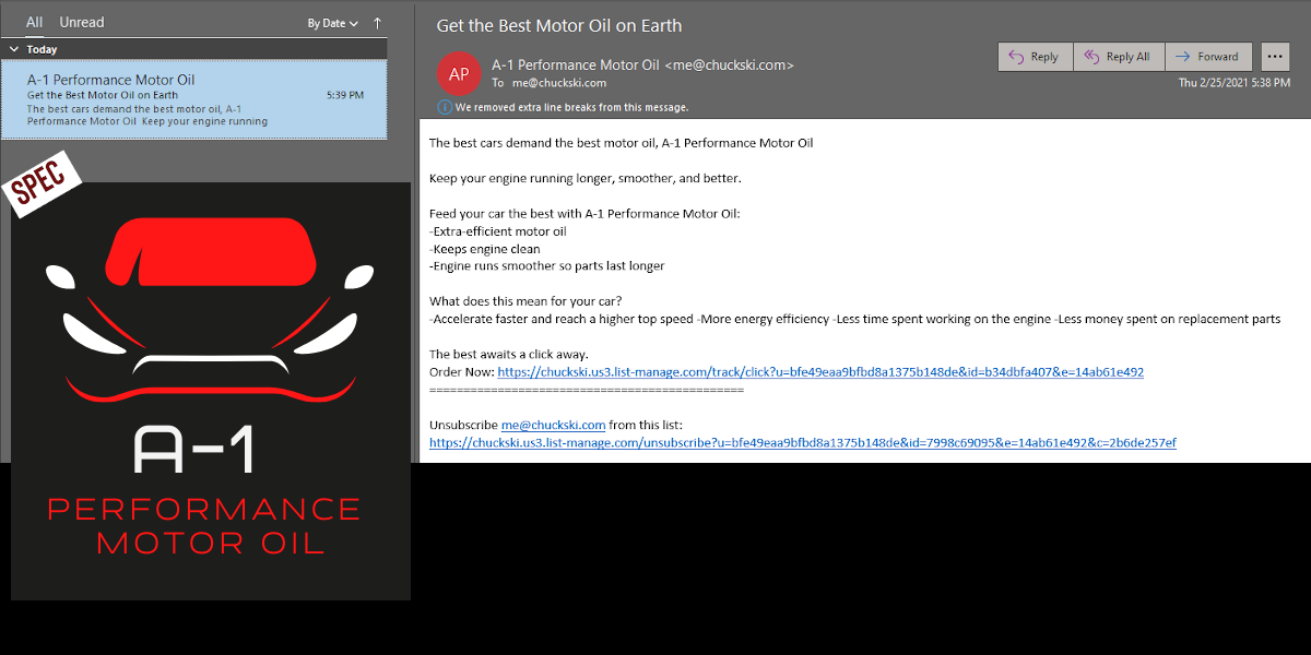 A-1 Motor Oil Spec Email